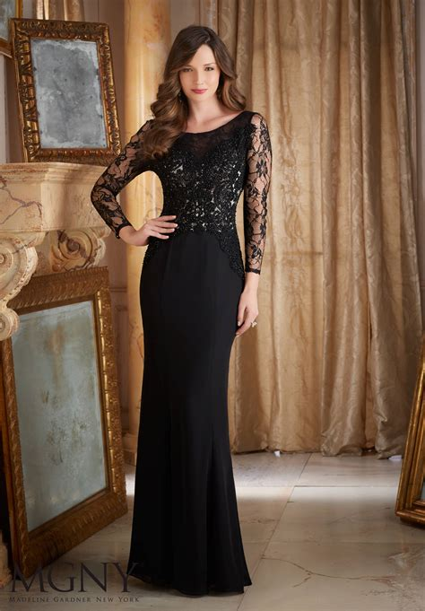 Gamis Muslim M058 Dia Dress beaded lace and appliques on chiffon evening dress style