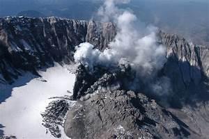 Beginning Of Mount St  Helens Eruption Through Crater