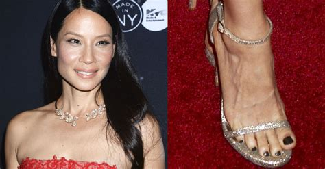Lucy Liu in Red Lace Monique Lhuillier Mini Dress and