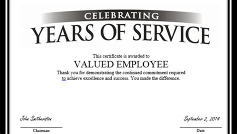 Certificate For Years Of Service Template by Years Of Service Certificate Template 22 Certificate For