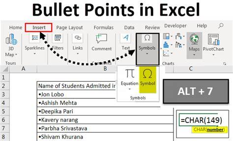 bullet points  excel   add bullet points  excel