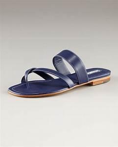 Manolo Blahnik Susa Leather Flat Sandal, Navy in Blue | Lyst