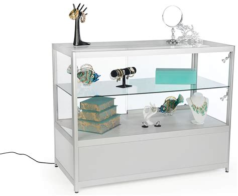 Silver Glass Retail Counters For Sale Locking Case Storage