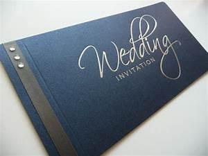Navy silver foiled cheque book wedding invitation with for Navy and silver wedding invitations uk