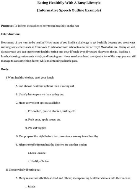 of the speech template 43 informative speech outline templates exles