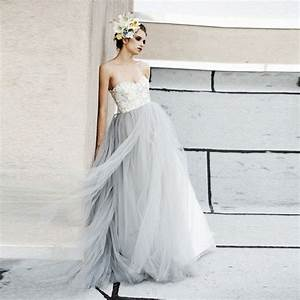 vintage light gray tulle lace wedding dresses puffy 2016 With gray dresses for wedding