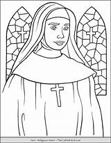Coloring Nun Sister Religious Catholic Pages Thecatholickid Church Sisters Children Sketches Kid sketch template