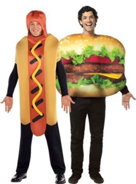 couple hot dog costume cheeseburger and hot dog couples costumes party city