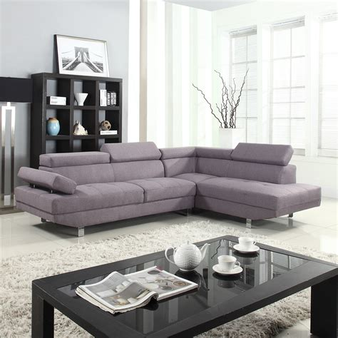 settee modern modern sectional sofa 2pc contemporary grey linen