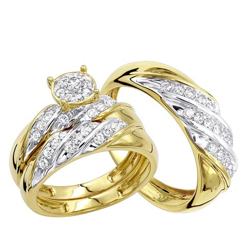 affordable 10k gold engagement ring wedding band trio 0 9ct