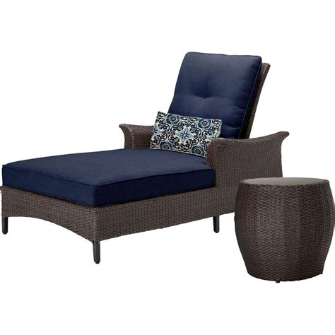 chaise navy hanover gramercy 2 all weather wicker patio chaise seating set with navy blue cushions