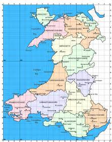 Wales Map with Counties