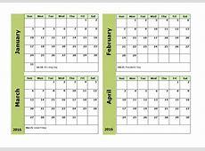 2016 Month View Calendar Calendar Template 2019