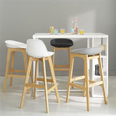 chaise de bar blanche chaise de bar style scandinave blanche et ch 234 ne maisons du monde