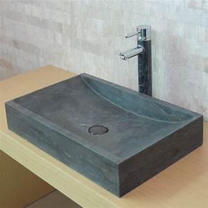 vasque en pierre rectangulaire len calcaire gris fonce With calcaire carrelage salle de bain