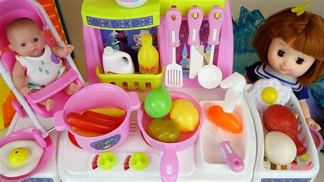 Baby Doll And Frozen Kitchen Toys Play Doh Cooking Food