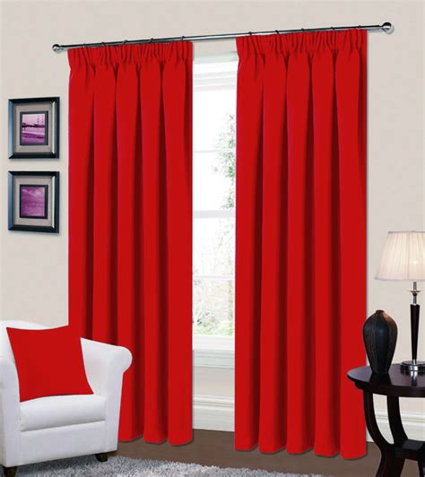 Bedroom Curtains Pencil Pleat by Plain Colour Thermal Blackout Readymade Bedroom