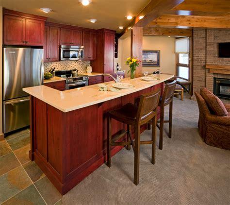 ski condo red cabinets rustic kitchen
