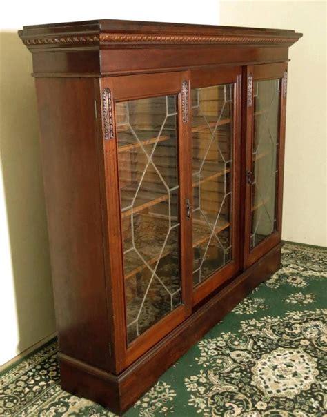 sliding door china cabinet antique walnut bookcase sliding glass doors display