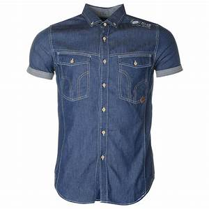 Smith Gents Mens Del Mar Short Sleeve Shirt Top Button Down Denim Casual | eBay