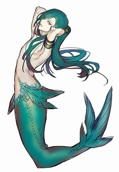 Mermaid Anime Drawing Poseidon Clipart Mermaids Dolphins