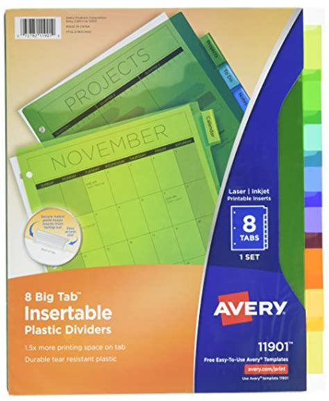 avery template 11901 free shipping avery big tab insertable plastic dividers multicolor 1 set of 8 tabs 11901