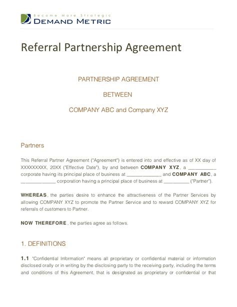 referral partnership agreement