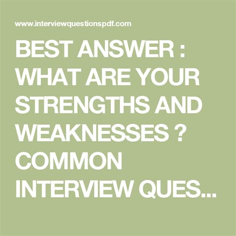 Best Weaknesses For by Best Answer What Are Your Strengths And Weaknesses