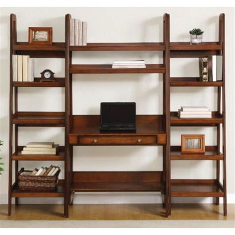 Leaning Desk Bookcase by New Leaning Ladder Style Wooden Desk With Two 72 Quot 3 Shelf