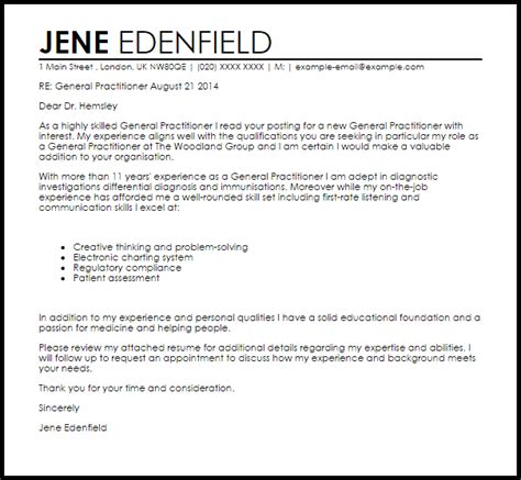 general practitioner cover letter sample cover letter