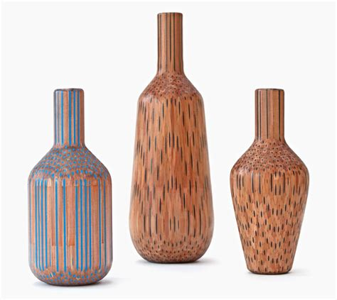 colored pencil vase amalgamated pencils form vases by studio markunpoika
