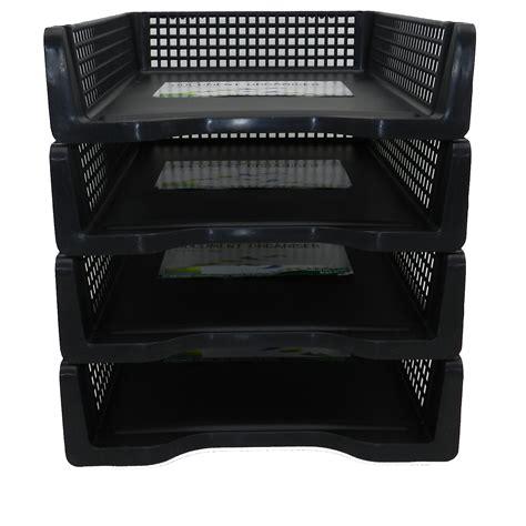 tier stackable desk black  letter tray filing document