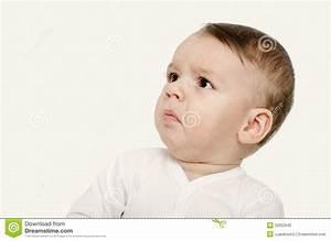 Cute Baby Boy Looking Up Upset. Stock Photo - Image: 50353940