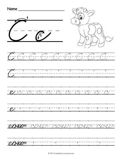 free printable cursive c worksheet cursive writing worksheets cursive handwriting