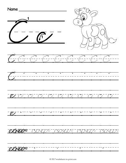 Free Printable Cursive C Worksheet  Cursive Writing Worksheets