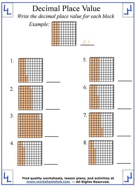 decimal place  worksheets