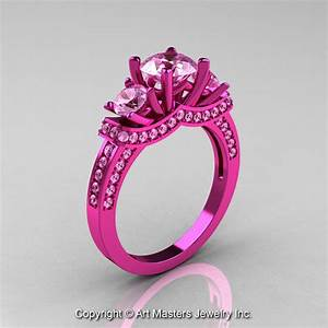 french 14k pink gold three stone light pink sapphire With pink wedding rings pictures