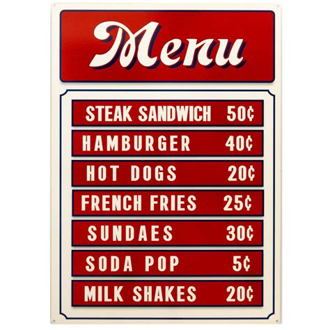 cuisine plaque diner menu board food prices metal sign kitchen vintage