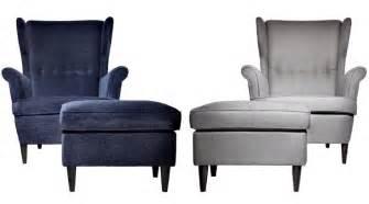 Strandmon Chair. Blue Velvet Or Gray Linen. Funky Reading