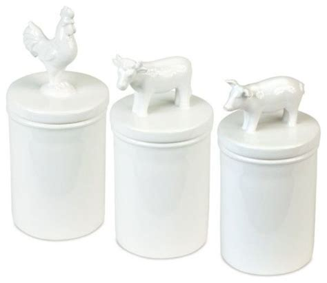 pig kitchen canisters white pig cow and rooster barnyard
