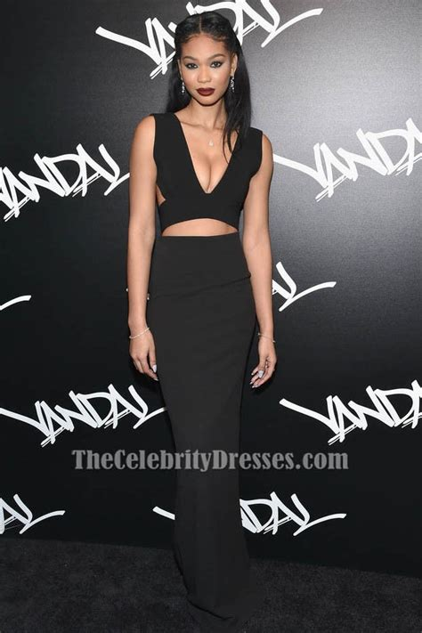 chanel iman sexy backless black cut  evening dress thecelebritydresses