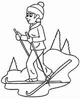 Coloring Skiing Pages Popular Country Cross sketch template