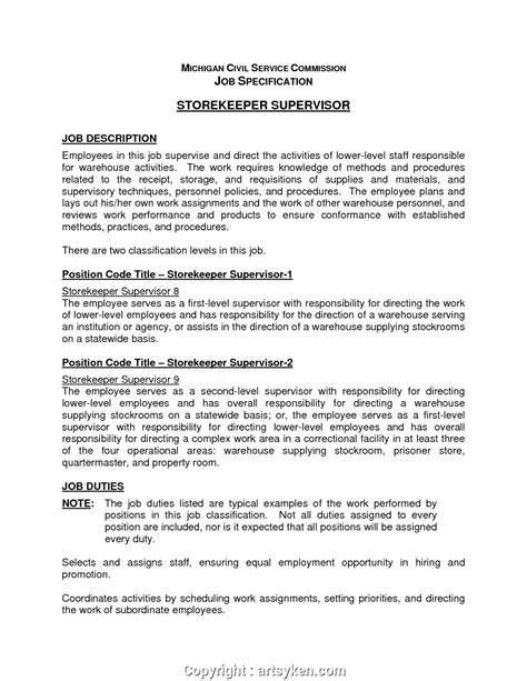 styles warehouse supervisor job description sample