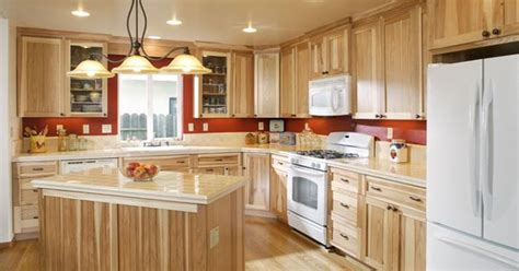 hickory kitchen island hickory cabinets with white appliances and light colored