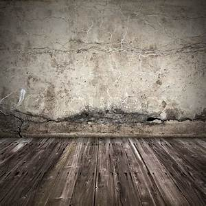 Old dark grunge interior background with concrete wall and ...