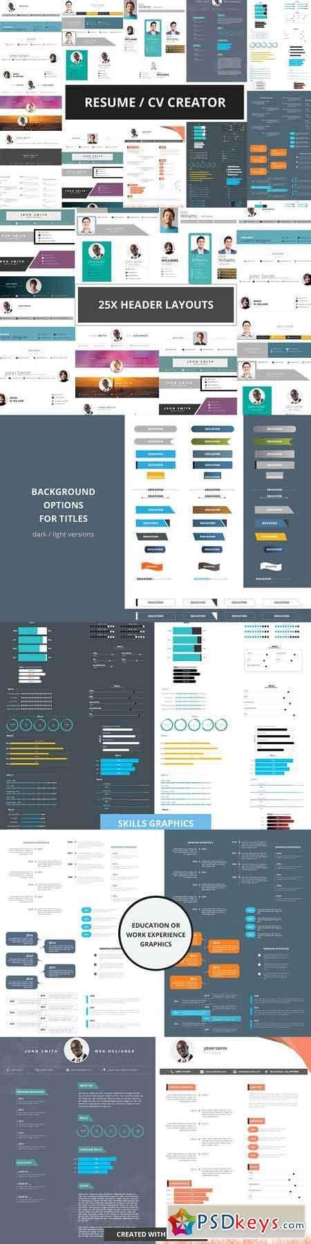 Resume Header Creator by Resume Cv Creator Kit 1425226 187 Free Photoshop
