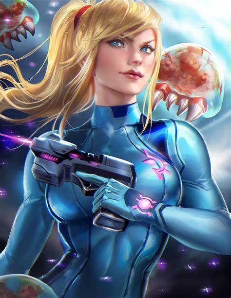 Female Character With Laser Gun Digital Wallpaper