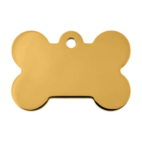 Quick-Tag Gold Bone Personalized Engraved Pet ID Tag