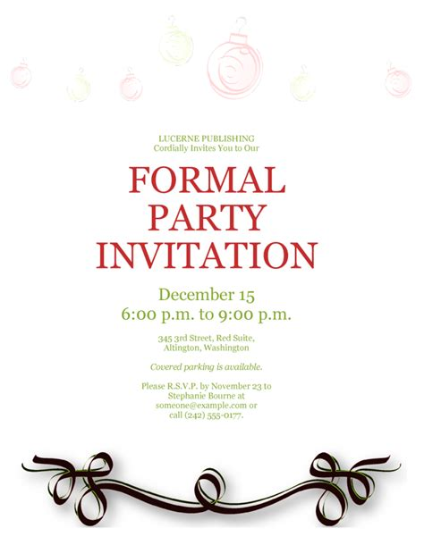 Templates For Invitations by Formal Invitation Template