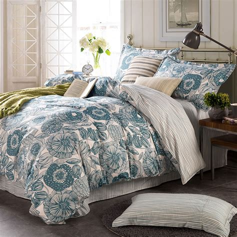 blue and white floor l light blue and white floral cotton bedding set ebeddingsets